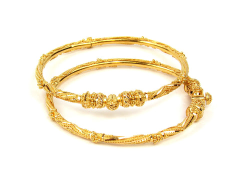24.60g 22Kt Gold Pipe Bangle Set India Jewellery