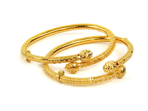 28.90g 22Kt Gold Pipe Bangle Set India Jewellery