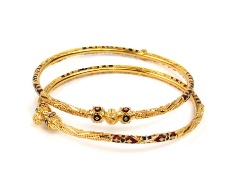 22.50g 22Kt Gold Pipe Bangle Set India Jewellery