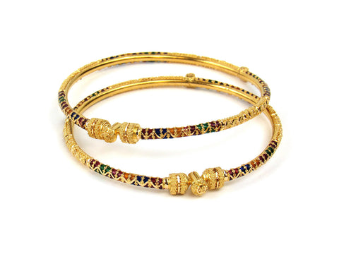 21.30g 22Kt Gold Pipe Bangle Set India Jewellery