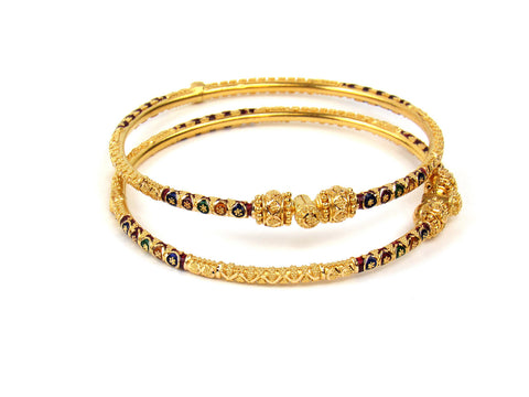 23.10g 22Kt Gold Pipe Bangle Set India Jewellery
