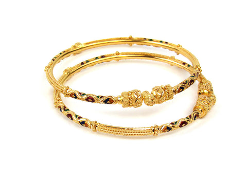 24.65g 22Kt Gold Pipe Bangle Set India Jewellery