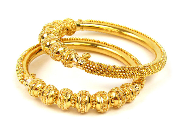 67.55g 22Kt Gold Pipe Bangle Set (Sz: 5) - 228