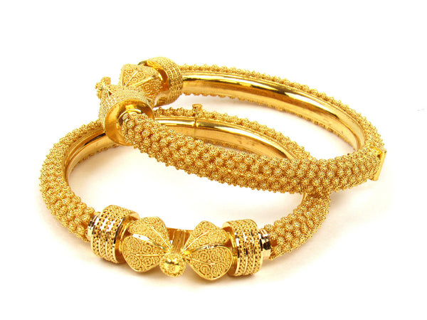 77.10g 22Kt Gold Pipe Bangle Set (Sz: 5) - 229