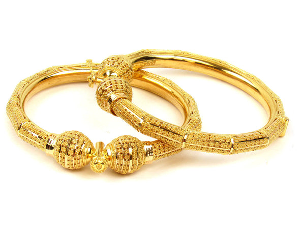 59.90g 22Kt Gold Pipe Bangle Set (Sz: 5) - 231