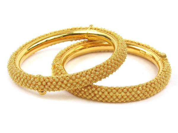 69.85g 22Kt Gold Pipe Bangle Set (Sz: 5) - 235