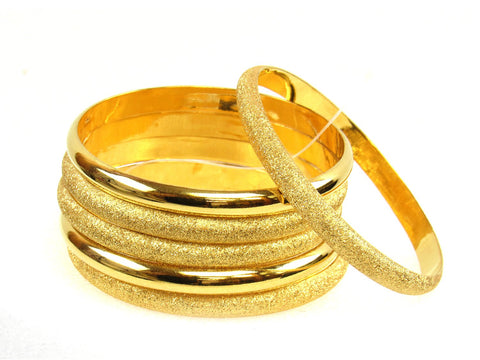 67.80g 22Kt Gold Stackable Bangle Set (Sz: 4) India Jewellery