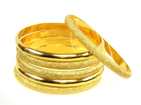 71.20g 22Kt Gold Stackable Bangle Set (Sz: 5) India Jewellery
