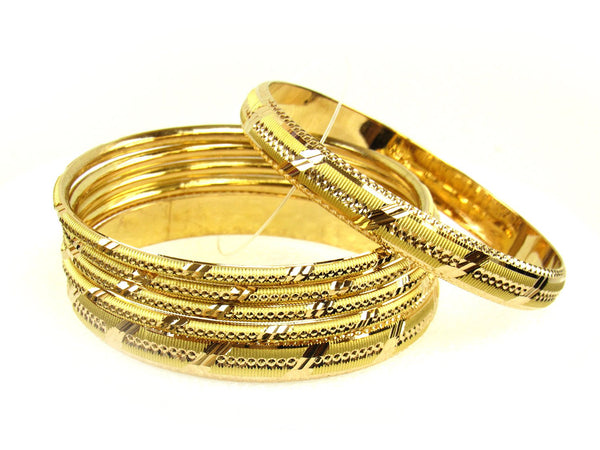 55.25g 22Kt Gold Stackable Bangle Set (Sz: 8) - 1264