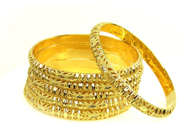 88.40g 22Kt Gold Stackable Bangle Set (Sz: 8) - 1280
