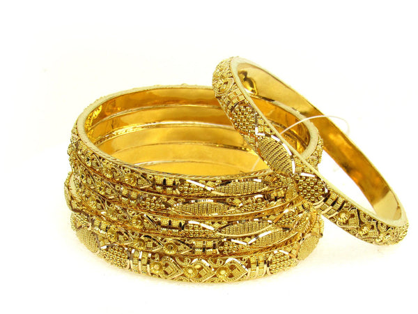 97.60g 22Kt Gold Stackable Bangle Set (Sz: 6) - 1285