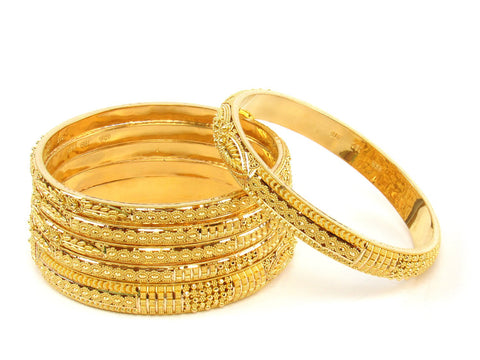 106.20g 22Kt Gold Stackable Bangle Set (Sz: 5) India Jewellery