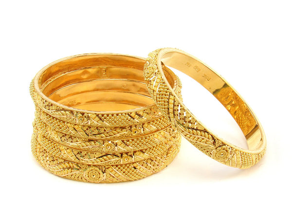 97.30g 22Kt Gold Stackable Bangle Set (Sz: 4) - 1398