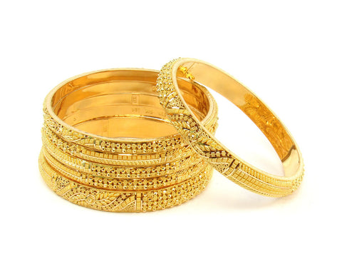 101.50g 22Kt Gold Stackable Bangle Set (Sz: 6) India Jewellery
