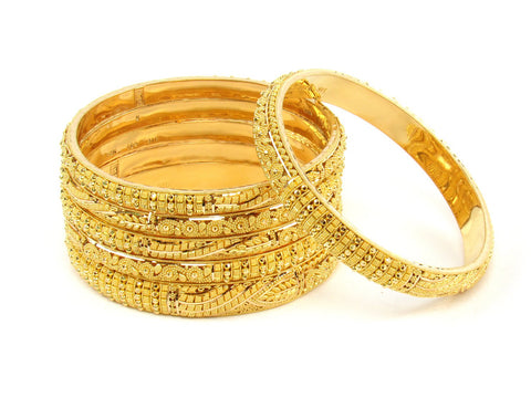 107.40g 22Kt Gold Stackable Bangle Set (Sz: 8) India Jewellery