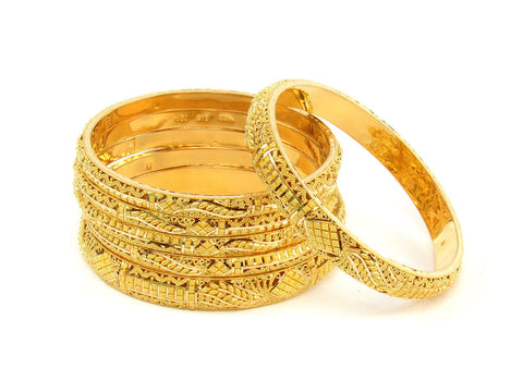 101.30g 22Kt Gold Stackable Bangle Set (Sz: 6) India Jewellery