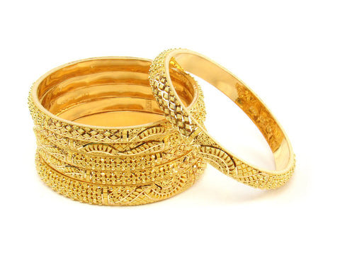 102.10g 22Kt Gold Stackable Bangle Set (Sz: 6) India Jewellery