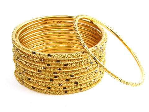 98.80g 22Kt Gold Stackable Bangle Set India Jewellery