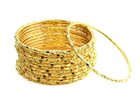 108.20g 22Kt Gold Stackable Bangle Set India Jewellery