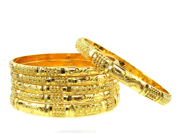 91.00g 22Kt Gold Stackable Bangle Set (Sz: 10) - 1678