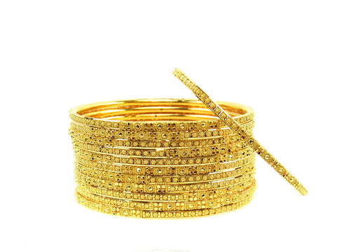 109.10g 22Kt Gold Stackable Bangle Set (Sz: 4) India Jewellery
