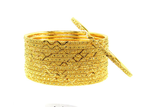 105.50g 22Kt Gold Stackable Bangle Set (Sz: 4) India Jewellery
