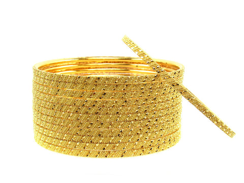 107.50g 22Kt Gold Stackable Bangle Set (Sz: 6) India Jewellery