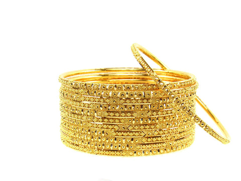 106.60g 22Kt Gold Stackable Bangle Set (Sz: 6) India Jewellery