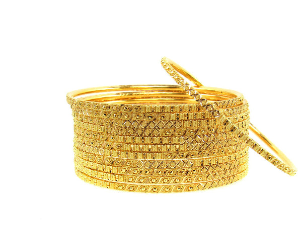 111.80g 22Kt Gold Stackable Bangle Set (Sz: 8) - 1685