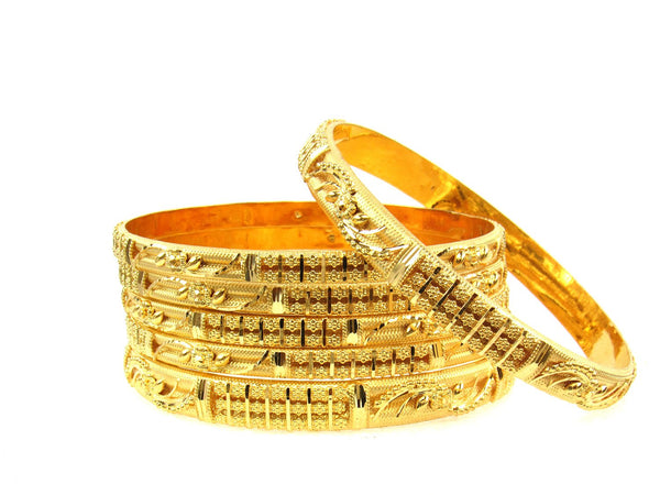 77.80g 22Kt Gold Stackable Bangle Set (Sz: 8) - 1691