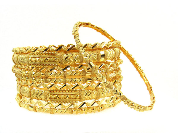 116.60g 22Kt Gold Stackable Bangle Set (Sz: 8) - 1694