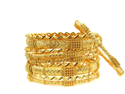 104.10g 22Kt Gold Stackable Bangle Set (Sz: 4) India Jewellery