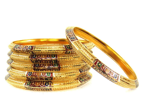 106.30g 22Kt Gold Stackable Bangle Set (Sz: 6) India Jewellery