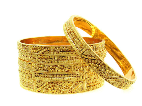 102.10g 22Kt Gold Stackable Bangle Set (Sz: 8) India Jewellery