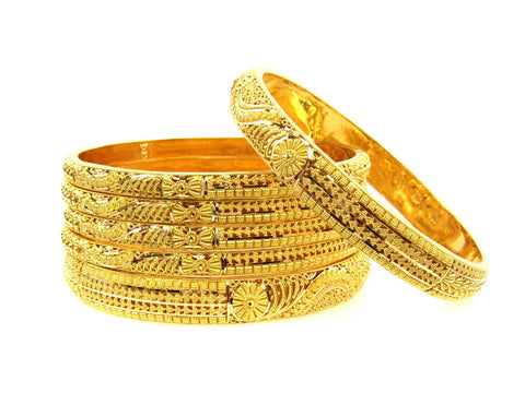 101.50g 22Kt Gold Stackable Bangle Set (Sz: 8) India Jewellery