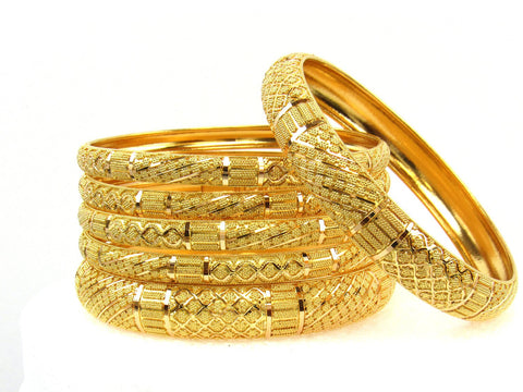 105.10g 22Kt Gold Stackable Bangle Set (Sz: 8) India Jewellery
