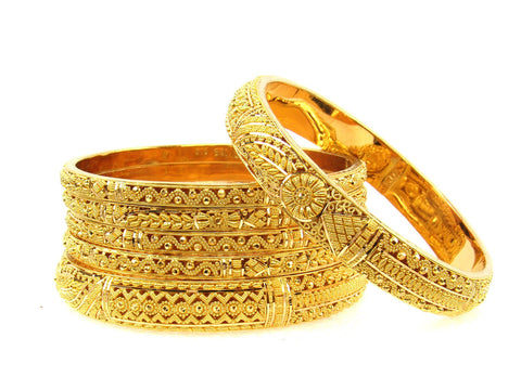 104.10g 22Kt Gold Stackable Bangle Set (Sz: 6) India Jewellery