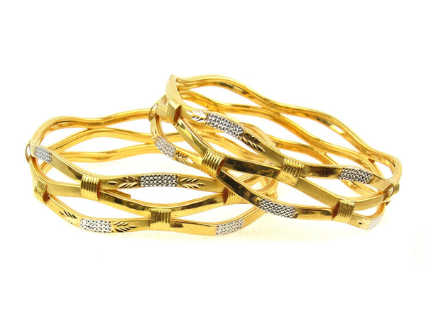 41.10g 22Kt Gold Stackable Bangle Set (Sz: 6) - 1724