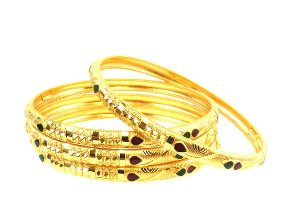 34.17g 22Kt Gold Stackable Bangle Set (Sz: 6) - 1732