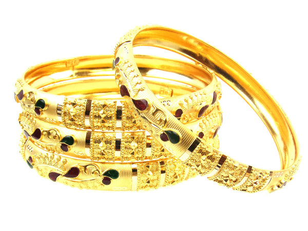 50.64g 22Kt Gold Stackable Bangle Set (Sz: 4) - 1733