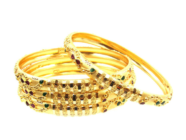 34.60g 22Kt Gold Stackable Bangle Set (Sz: 4) - 1742