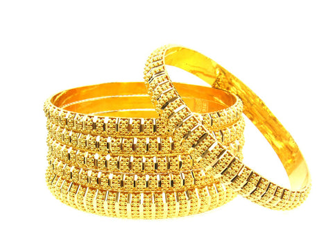 102.30g 22Kt Gold Stackable Bangle Set (Sz: 8) India Jewellery