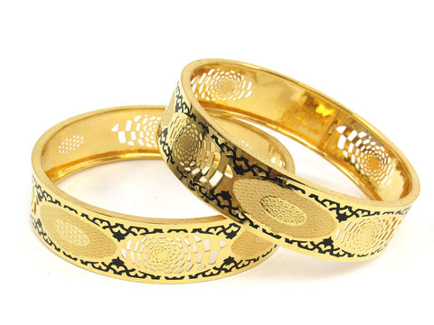 42.40g 22Kt Gold Stackable Bangle Set (Sz: 6) India Jewellery