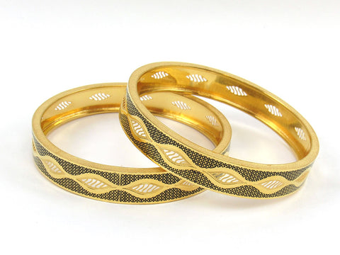41.00g 22Kt Gold Stackable Bangle Set (Sz: 6) India Jewellery