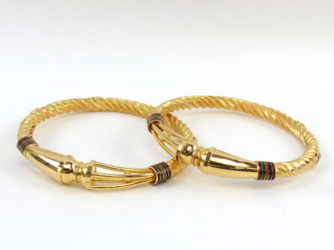 36.90g 22Kt Gold Stackable Bangle Set (Sz: 4) India Jewellery