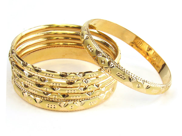 58.10g 22kt Gold Stackable Bangle Set (Sz: 8) - 180