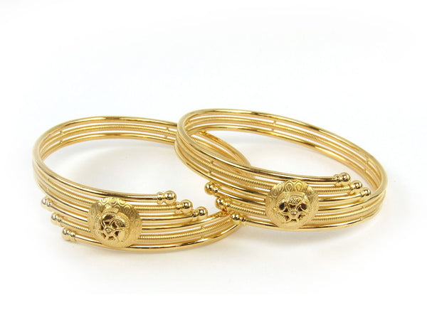 30.00g 22Kt Gold Stackable Bangle Set (Sz: 5) - 1810