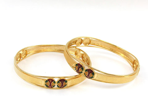 36.90g 22Kt Gold Stackable Bangle Set (Sz: 5) India Jewellery