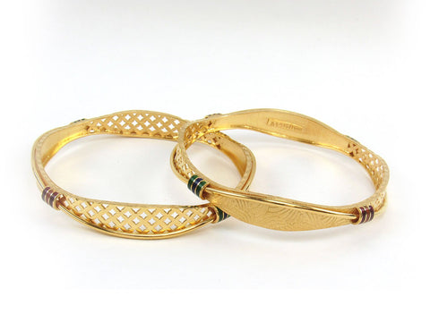 32.70g 22Kt Gold Stackable Bangle Set (Sz: 6) India Jewellery