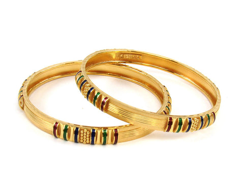 52.80g 22Kt Gold Stackable Bangle Set (Sz: 5) India Jewellery